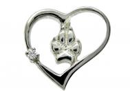Srdce - psí tlapka s bílým zirkonem přívěšek na krk stříbrný