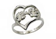 Srdce - psí tlapky prsten stříbrný - 56